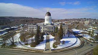 State House Aerial View Augusta ME photo credit to FireDroneUSA